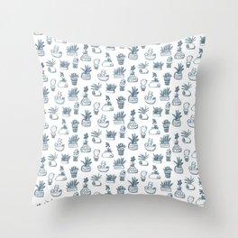 Blue Inky Cacti Throw Pillow