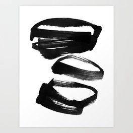 Black and White Abstract Shapes Ink Painting Art Print