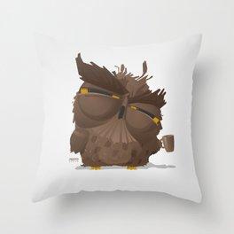 Grumpy coffee owl Throw Pillow