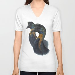 Northern Cassowary, tropical bird in the nature of New Guinea Unisex V-Neck