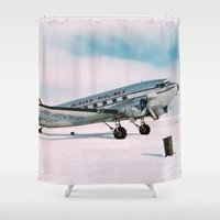 aviation Shower Curtains featuring Vintage aviation photograph Alaska Airlines airplane air plane classic pilot flight travel photo by iGallery