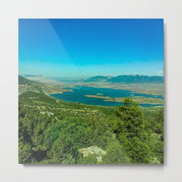 Lake in the forest in the middle of mountains  Metal Print