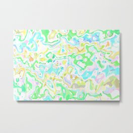 Blue, Yellow, and Green Marbled Metal Print