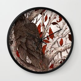 A Raven In Winter Wall Clock