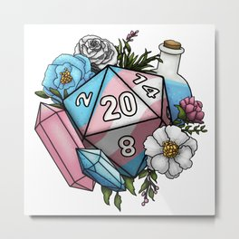 Pride Transgender D20 Tabletop RPG Gaming Dice Metal Print