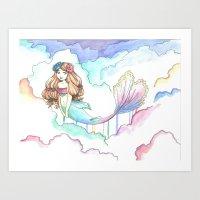 Rainbow Mermaid in the Clouds Art Print