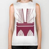 brooklyn bridge Biker Tanks featuring Brooklyn Bridge by Melinda Zoephel