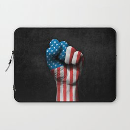 Flag of The United States on a Raised Clenched Fist Laptop Sleeve