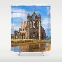 downton abbey Shower Curtains featuring Whitby Abbey by davehare