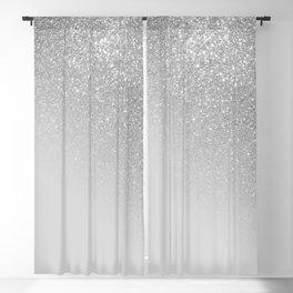 Diagonal Gray Silver Glitter Gradient Ombre Blackout Curtain