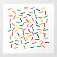 sprinkles Art Prints featuring Sprinkles by Gold Collective