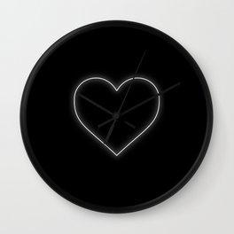 Neon White Valentines Love Heart Wall Clock