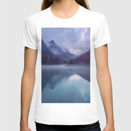 Mountain Valley Lake Purple And Blue Colors T-shirt