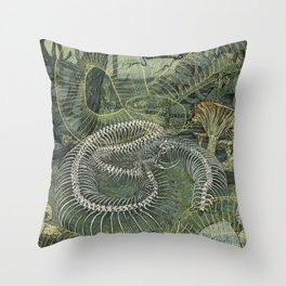 Green Bone Throw Pillow