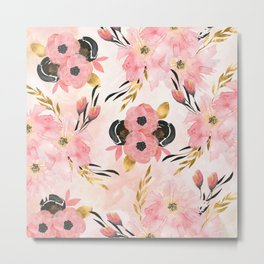 Night Meadow Blush Pink Metal Print