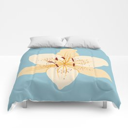 Day Lily Illustrative Art on Light Blue Comforters