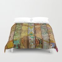 maps Duvet Covers featuring Around the World in Thirteen Maps by Diego Tirigall