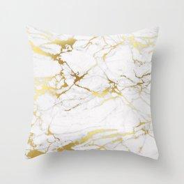 White gold marble Throw Pillow