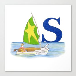 s is for sailboat Canvas Print