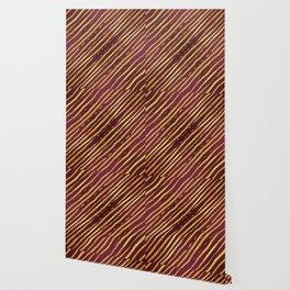 Fuchsia Golden Tiger Stripes Wallpaper