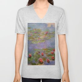 """Claude Monet """"Red Water Lilies"""", 1919 Unisex V-Neck"""