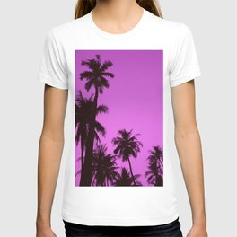 Tropical palm trees on blue pink T-shirt