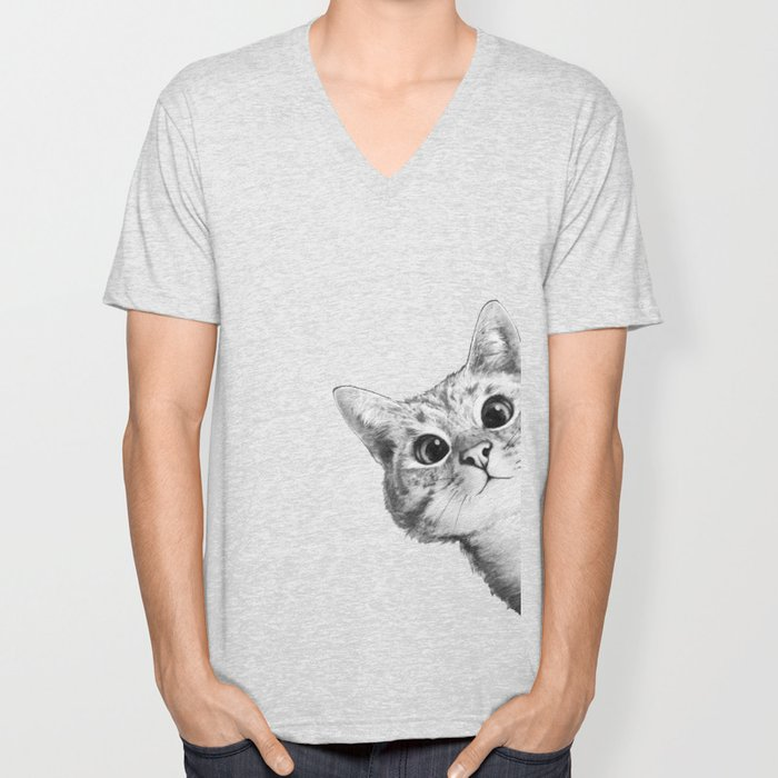 sneaky cat Unisex V-Neck