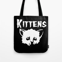 goth Tote Bags featuring Goth Kittens by Ludwig Van Bacon