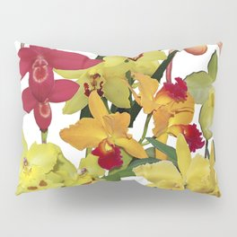 Orchids - Hot Colors! On white Pillow Sham