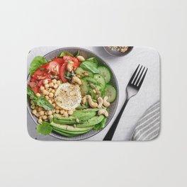 Top view of a healthy vegan lunch bowl Bath Mat