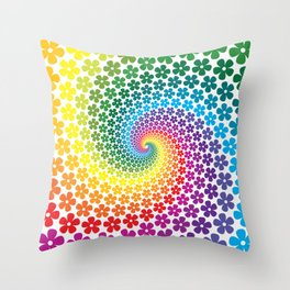 Rainbow Flowers Throw Pillow