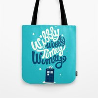 risa rodil Tote Bags featuring Wibbly Wobbly Timey Wimey by Risa Rodil
