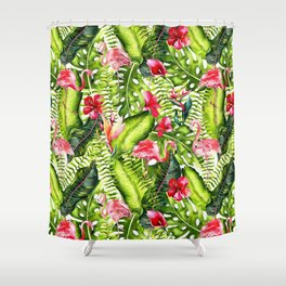 Aloha - Tropical Flamingo Bird and Hibiscus Palm Leaves Garden Shower Curtain