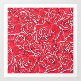 Roses hand drawn vintage illustration pattern  Art Print
