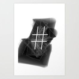 Hashtag typographic treatment.  Dark Math. # Art Print