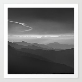 Misty mountains. WB. Yesterday Art Print