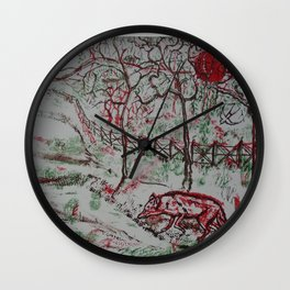 Fox and the Red Sun Wall Clock
