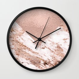 Pastel pink warm rose marble Wall Clock