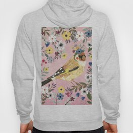 Goldfinch bird with floral crown Hoody
