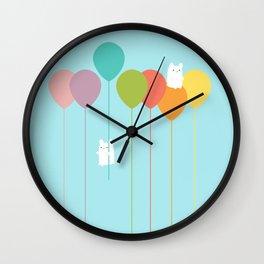Fluffy bunnies and the rainbow balloons Wall Clock