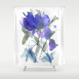 Bluest Blue Bloom Shower Curtain