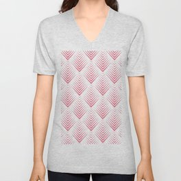 White and pink art-deco geometric pattern Unisex V-Neck