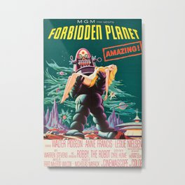 Forbidden Planet, vintage sci-fi movie poster Metal Print