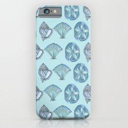 Watercolor Seashells Aqua Background  iPhone Case