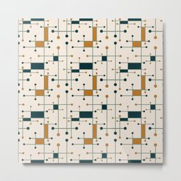 Intersecting Lines in Cream, Blue-Green and Orange Metal Print