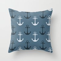 anchors Throw Pillows featuring Anchors by Zen and Chic