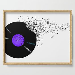 Vinyl with music notes Serving Tray