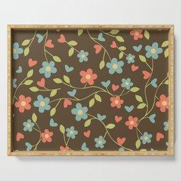 Elegant drawn floral pattern Serving Tray