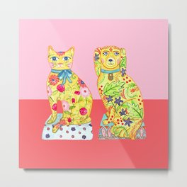 Boho Floral Cat and Dog Figurines Metal Print
