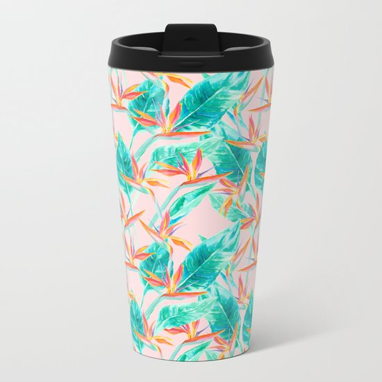 Birds of Paradise Blush Metal Travel Mug